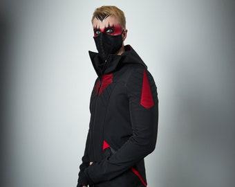 Cyberpunk black jacket, softshell jacket, futuristic clothing - SIX man