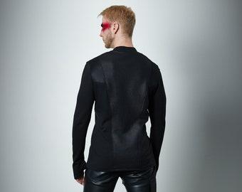 Cyberpunk sweater thumbhole sleeves futuristic clothing - CC1 man Q6