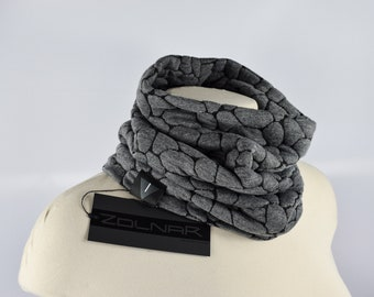 Gray loop scarf tube scarf Grey winter scarf chunky rocks texture - SC- bu