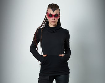 Cyberpunk sweater black sci-fi clothing  - 868 woman
