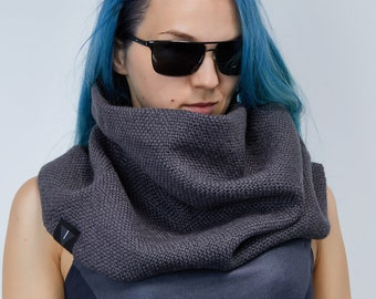 Grey wool loop scarf - dystopian clothing neck warmer - SC5
