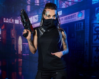 Cyberpunk black vest with pocket, futuristic clothing - 422 woman