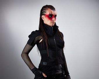 Black cyberpunk armor Sci-fi vest holster - 488-L woman