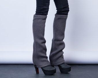 Wool leg warmers chunky boot socks, long legwarmers winter wear  boot cuffs bell bottoms - LGw gr