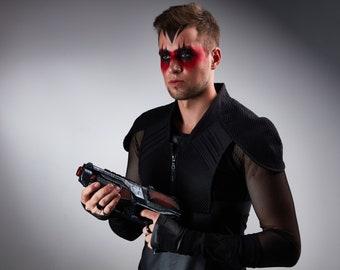Black cosplay armor cyberpunk shoulder holster - 488 man