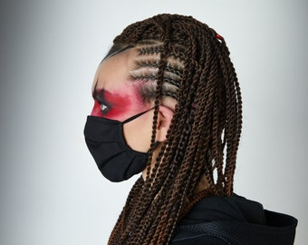 Black cotton face mask with nose wire, adjustable ear strap - MS-SC