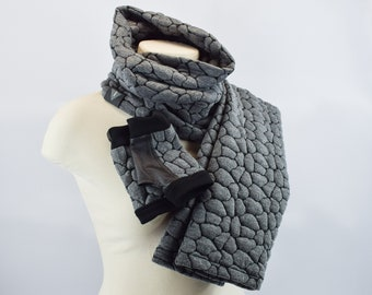 Fingerless mittens with scarf and legwarmers, winter accessories- BU set