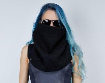 Black chunky knit scarf, wool circle scarf - SC5