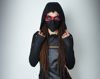 Hooded shrug, wasteland shrug black cyberpunk sleeves -  SH60w Q6