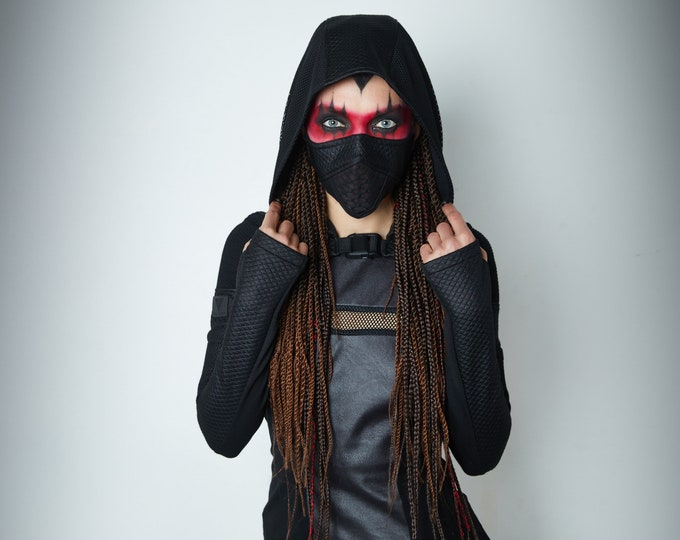 Featured listing image: Hooded shrug, wasteland shrug black cyberpunk sleeves -  SH60w Q6