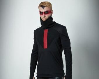 Black military sweater turtleneck sci fi pullover long sleeves thumb holes -K-2 man Q6