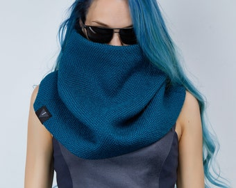 Blue chunky knit scarf, wool circle scarf - SC5