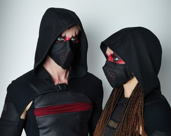 Cyberpunk face mask, set of 2, black mask with  nose wire - MC-Q6 2p