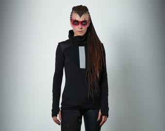 Black military sweater turtleneck sci fi pullover high  -K-2 Q6 woman