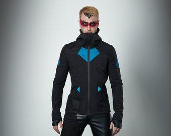 Cyberpunk jacket, softshell fabric, futuristic clothing - SIX man