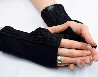 Black cozy wrist warmers, short unisex jersey fingerless gloves  - L-WRW s1