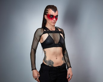 Mesh sleeves burning man shrug, cyberpunk -  SH1 w