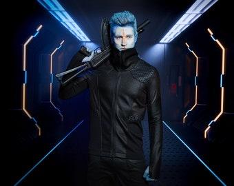 Cyberpunk jacket, faux leather hexagonal jacket honeycomb - MJJ-389