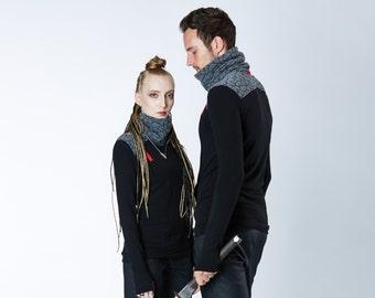 Matching black cyberpunk sweaters with thumbholes, set for a pair, turtleneck sweaters, sci-fi futuristic - BU2 set grey
