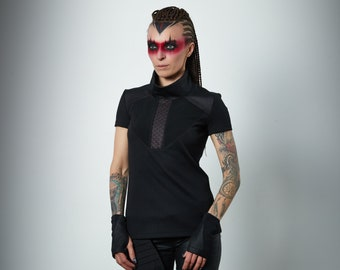 Cyberpunk t-shirt, Futuristic clothing for women, post apocalyptic cyber - K-4 woman Q6