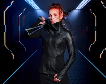 Cyberpunk jacket, faux leather hexagonal jacket honeycomb - 389 woman