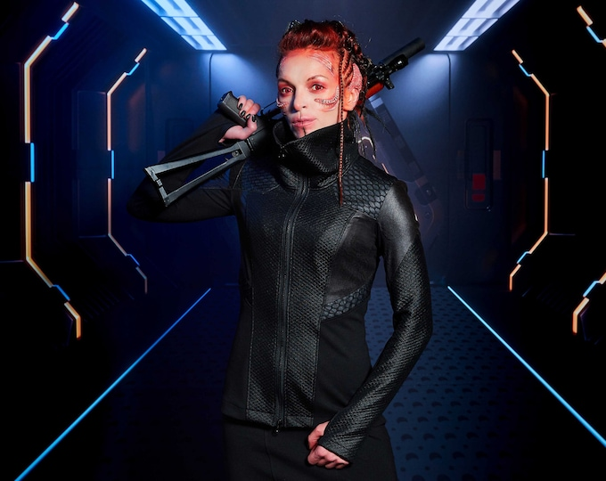 Featured listing image: 389 Cyberpunk jacket with faux leather hexagonal shoulder