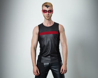 Black sleeveless shirt with red insert, faux leather shirt  - RA2 man
