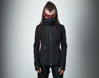 Black softshell jacket, futuristic clothing cyberpunk- SIX woman