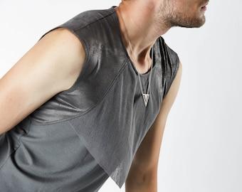 Grey sleeveless shirt, mens fashion vest  - E8 grey