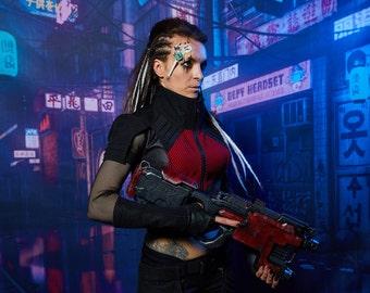 Black cyberpunk vest  futuristic armor - 488-L woman