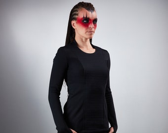 Cyberpunk sweater thumb holes shirt futuristic clothing cyberpunk for woman -CC1 woman