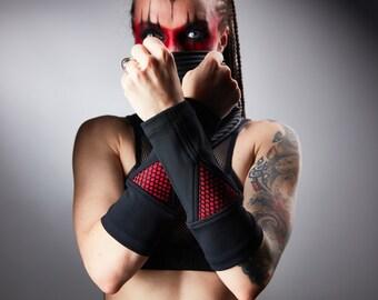 Black bracers, unisex cyberpunk accessories - BR4