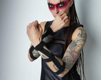 Black bracers unisex cyberpunk accessories  - ARW-EL