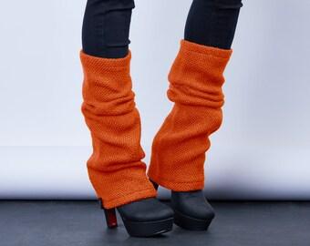 Wool leg warmers orange chunky boot socks, winter wear  - LGw or
