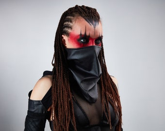 Black scarf, faux leather face cover - SC-TL leather