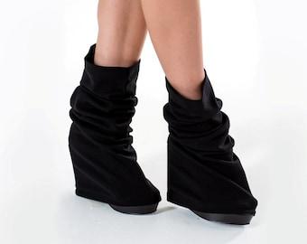 Long leg warmers black boot socks, pilates socks toeless cybergoth clothing - LG black