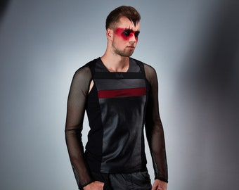 Men's mesh sleeves, black cyberpunk shrug-  SH1 m