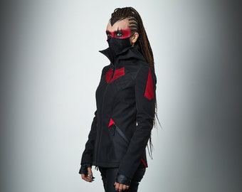 Black cyberpunk jacket softshell futuristic clothing cyberpunk- SIX woman