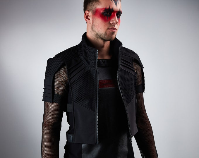 Featured listing image: Black cyberpunk vest  futuristic armor - 488-L man