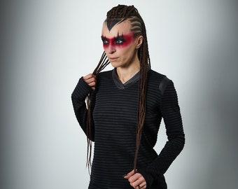 V-neck black shirt, thumbhole sleeve pullover -NAR 3