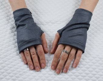 Car driving gloves Leather fingerless gloves, gray arm warmers, vegan leather gloves  - WRP