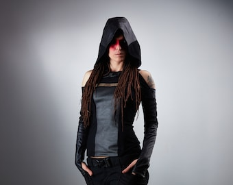 Hooded leather shrug, wasteland shrug black cyberpunk sleeves -  SH30