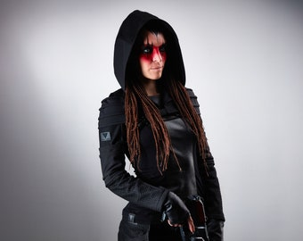 Hooded shrug wasteland, black cyberpunk sleeves with hood -  AS2 w