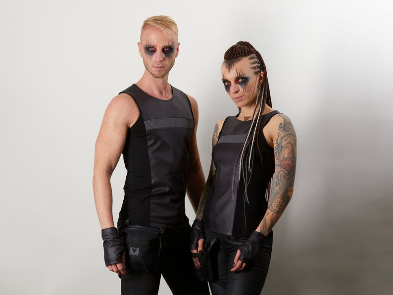 Black sleeveless shirt with gray insert RA2-8 Man faux leather shirt