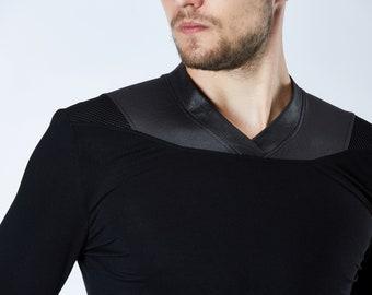 V-neck long shirt thumbhole sleeves futuristic - K6 men