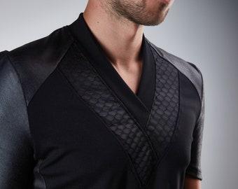 Black shirt Futuristic clothing sith shirt v-neck - 638 shirt