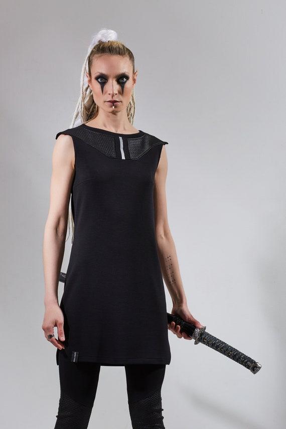 online retailer c4728 beb7e Tunica nera cyberpunk abito futuristico lunga camicia abbigliamento  d'avanguardia sci fi sciolto camicia senza maniche - IDK-W