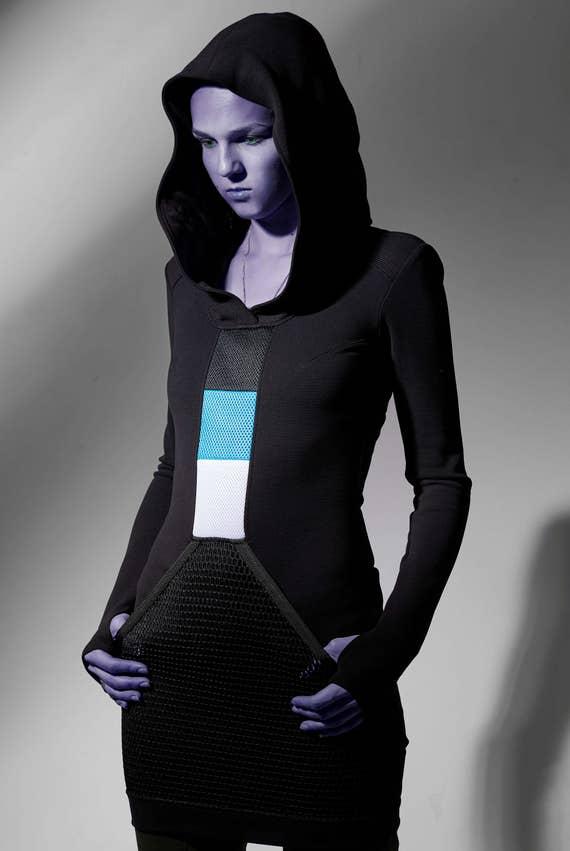 Cyberpunk hooded dress, long sweater, cyberpunk clothing futuristic thumbhole sleeves SQ3 woman dress