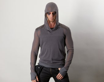 Gray mesh hoodie with thumbhole sleeves, faux leather shoulders - SVE-8 men