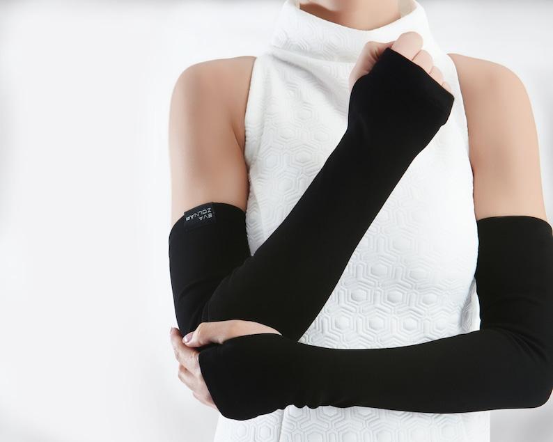 Long fingerless gloves black arm warmers gift for mom  FG image 0